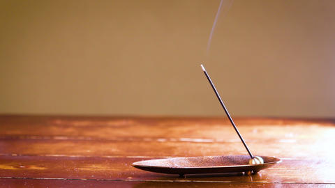 Japanese-style room purple incense stick and incense stick smoke Live Action