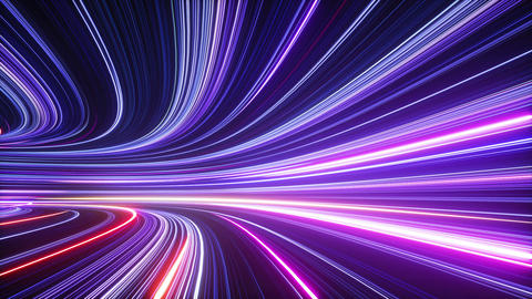 3d abstract neon background, tunnel turning to left, ultra violet rays, glowing lines Animation