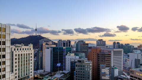 Namsan Mountain and Urban Landscape Time Lapses in Seoul, Korea Live Action
