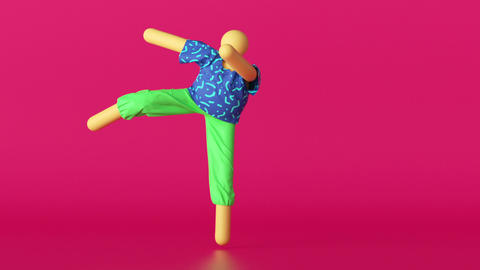3d abstract cartoon character in colorful clothes over pink background, dancing hipster person Animation