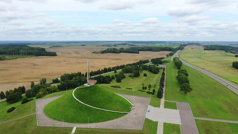 Belarus, aerial View of the mound of Glory monument, Minsk region, monument in Live Action