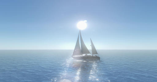 4k sailboat sailing in the sea,shine sun,wide ocean waves surface Live Action