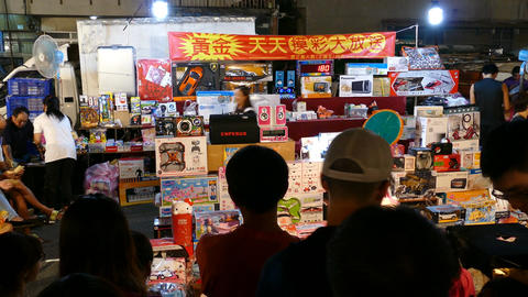 Gamble at Night market in Tainan, Taiwan Live Action