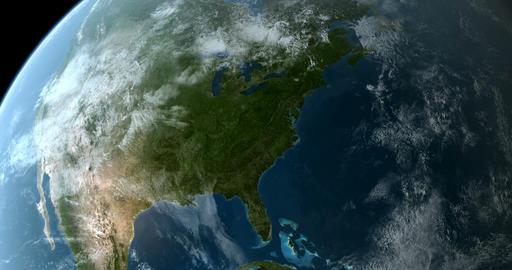 Orbiting over North America 4K Animation