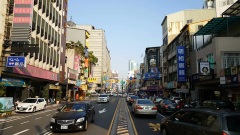 Chinese signs in local street of Tainan Footage