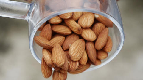 Nut almond close up. product rich in minerals and vitamins. Almond turns in a shot Live Action