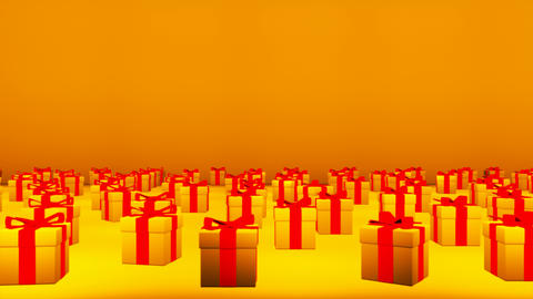 Broadcast Passing Hi-Tech Gift Boxes Stage, Golden, Events, 3D, 4K Animation