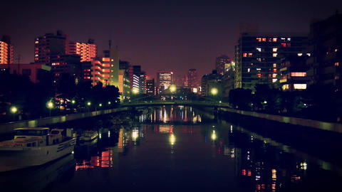 4K Tokyo canal night ビデオ