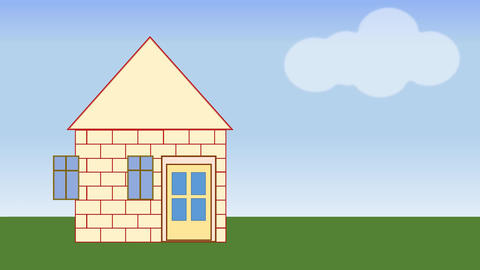 House building. Animated house construction in... Stock Video Footage