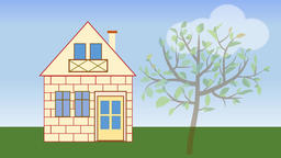 House building. Animated house construction in countryside with tree. Advertisin