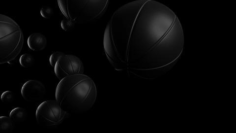 Many black basketball balls on black background Animation