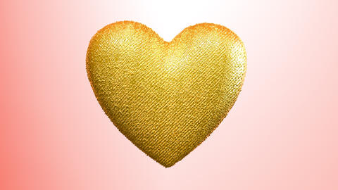 The golden heart goes around its axis. Valentine's Day background for lovers Animation