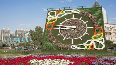 Flower Clock Almaty Zoom 4K Animation