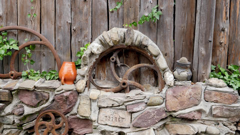 Background of old vintage wooden fence made of round wooden logs. Perfect rustic Live Action