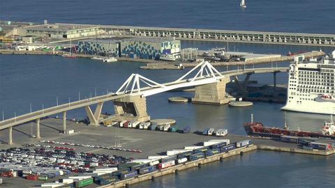 Puente de la Puerta de Europa, Port of Barcelona, Spain Live Action