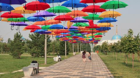 Astana Boulevard Umbrellas 4K Animation