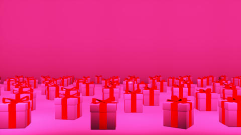 Broadcast Passing Hi-Tech Gift Boxes Stage, Pink, Events, 3D, 4K Animation
