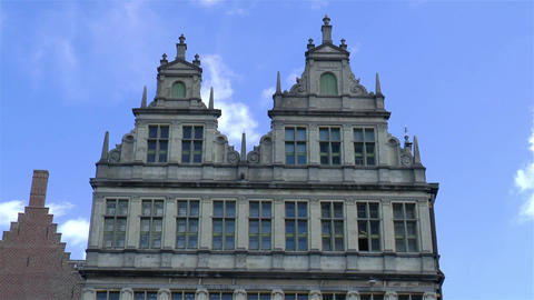 Traditional building facades in Ghent, Belgium Live Action