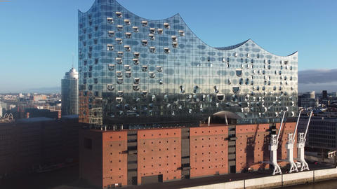 Famous Hamburg Concert Hall Elbphilharmonie in the harbour - HAMBURG, GERMANY - Live Action