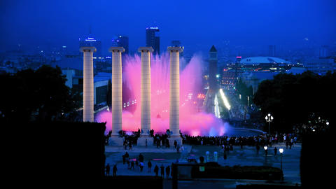 Light show along the stairs on Montjuic with famous fountains, Barcelona Slow Live Action