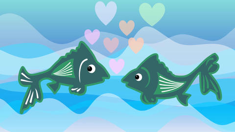 Fishes in love floating against each other and they kiss. Kiss turns into a colo Animation