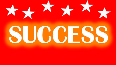 Success motivation movie with animated graphics, the letters jumping up the stai Animation