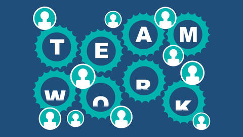 Team work animated illustration. Rotating gears, people icons, finger gesture th Animation