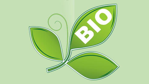 Animated bio product advertising with green rotating trefoil and falling clear w Animation