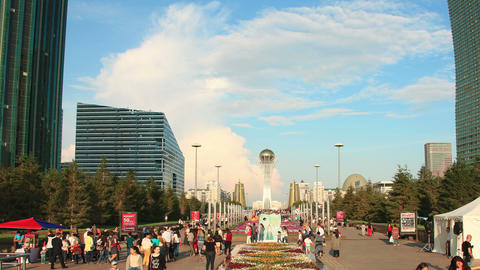 Bayterek Astana Flowersbed Time Lapse 4K Panorama Animation