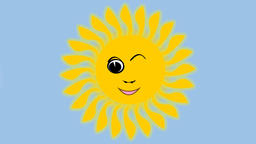 Cute yellow sun frolicking, dancing, winking and playing with the clouds. Funny  Animation