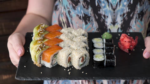 Sushi Rolls Video Background. 1