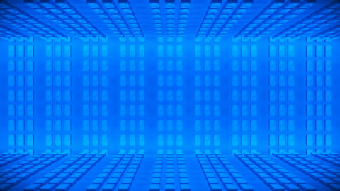 Broadcast Passing Hi-Tech Bricks Wall Stage, Blue, Events, 3D, 4K Animation