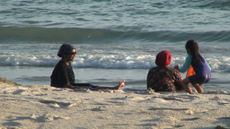 Malaysian woman at the beach Stock Video Footage