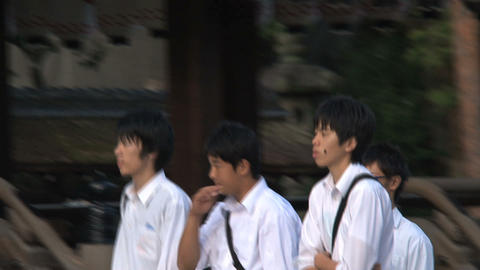 Schoolkids Yasaka Shrine Stock Video Footage
