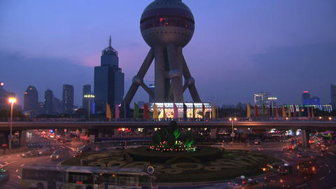 Oriental pearl tower traffic Time lapse Footage