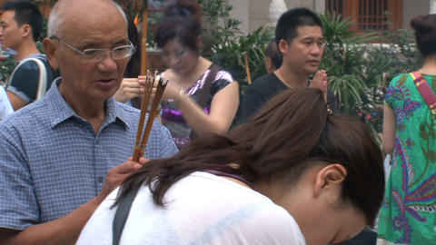 Pray at Jing'an Temple Stock Video Footage