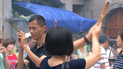 People praying at, Jing'an Temple Stock Video Footage
