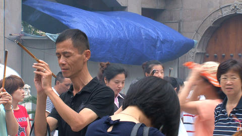 People praying at, Jing'an Temple Footage
