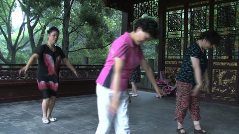 Tilt Chinese people dancing Footage