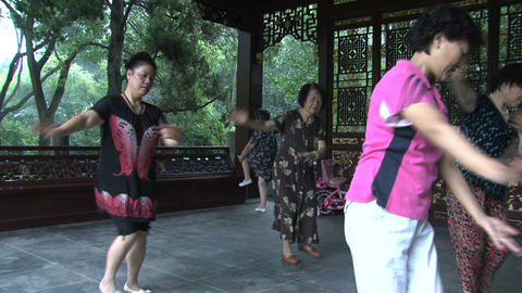 Tilt Chinese people dancing Stock Video Footage