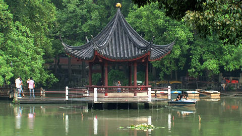 Pond Jing an park Stock Video Footage