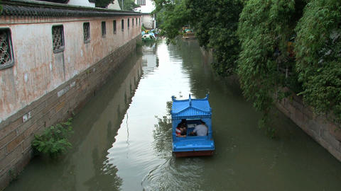 Little boat with people Stock Video Footage