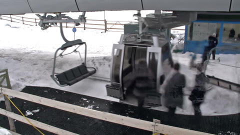 Ski lift station Stock Video Footage