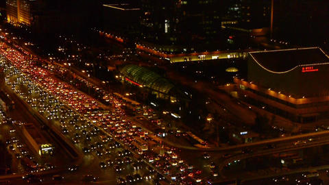 nighttime traffic pollution in Beijing CBD,cars jam troop... Stock Video Footage