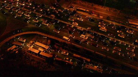 timelapse,overlook cars jam troop slow moving on busy... Stock Video Footage