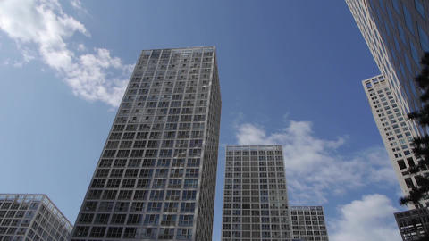 corporate buildings,clouds over Stock Video Footage