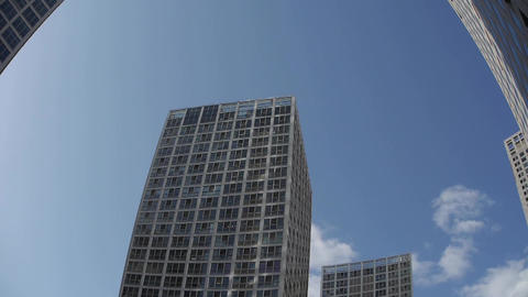 time lapse clouds over CBD office buildings,fisheye lens Stock Video Footage