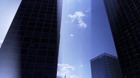 Backlight of CBD tall office buildings silhouette,virtual... Stock Video Footage