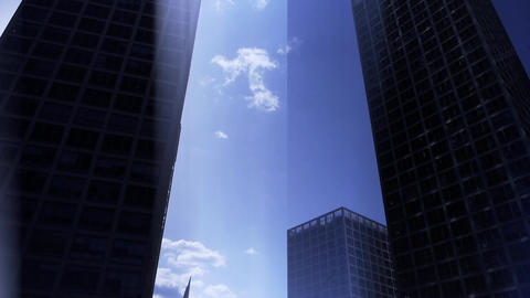 Backlight of CBD tall office buildings silhouette,virtual tech blue rays backgro Footage