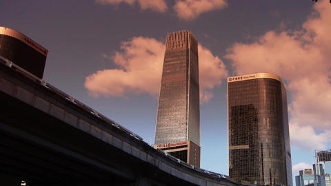 sunset city financial district,business office buildings in China,timelapse Footage